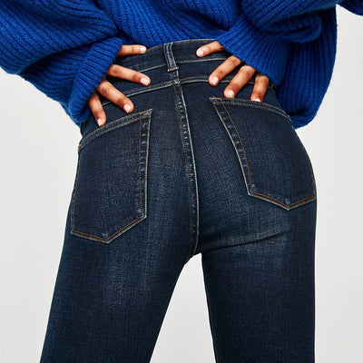 ZARA-true blue high waist bi-stretch 'skinny fit' jeans