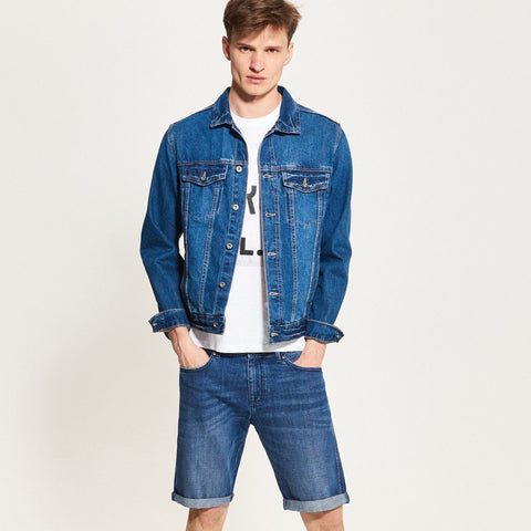 RESERVED-blue short with frayed hem