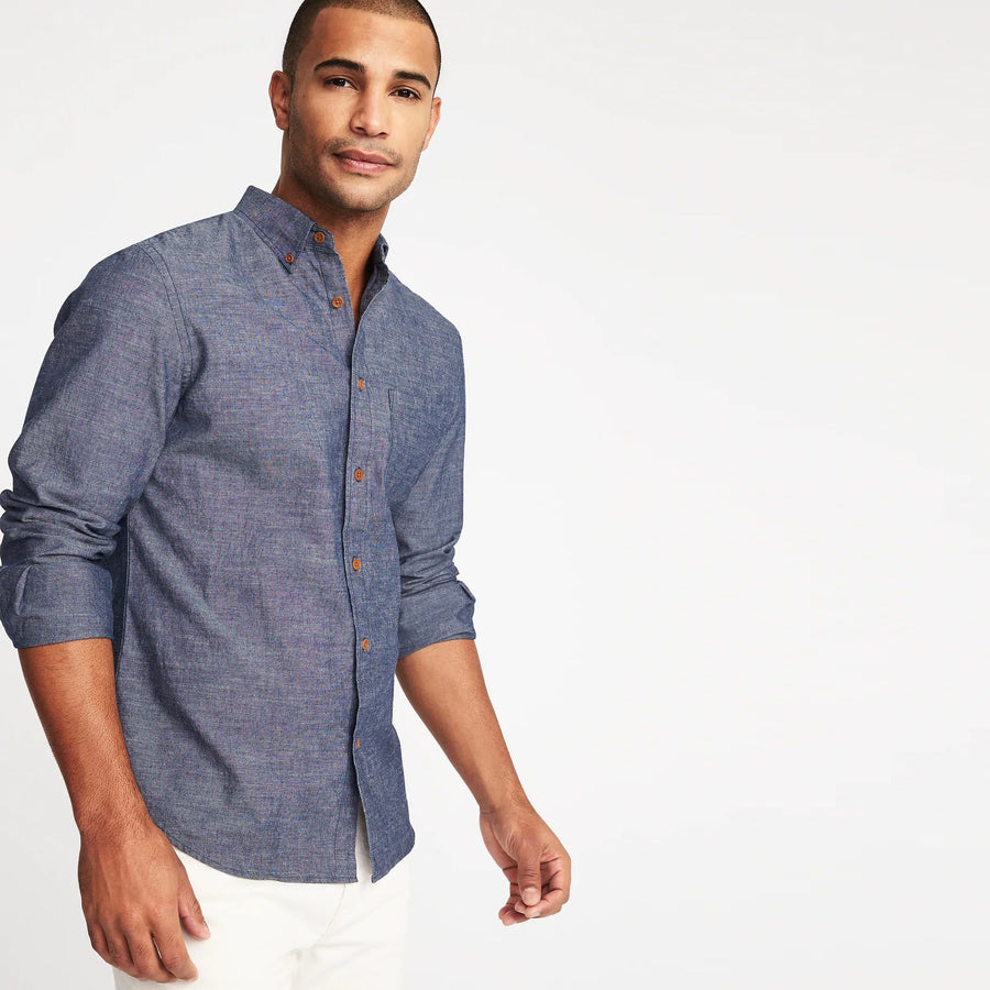 OLD NAVY-linen blend chambray shirt