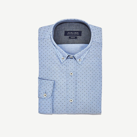 ZARA-exclusive 'slim fit' sky blue polka dot oxford shirt