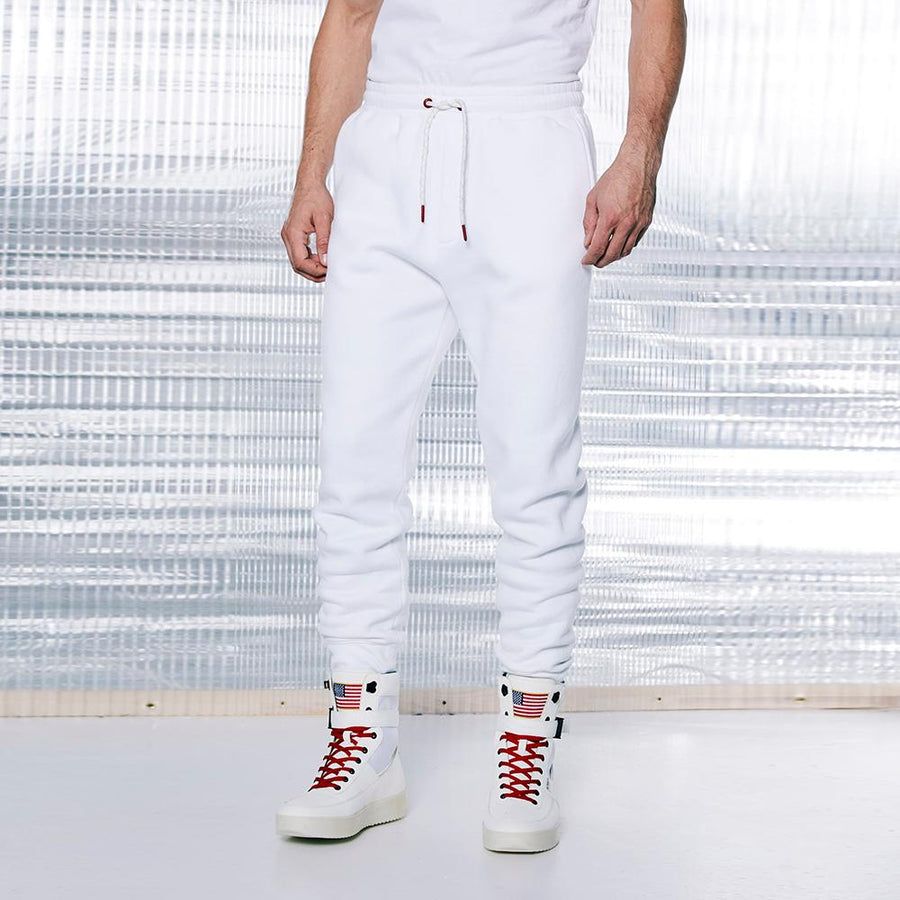 CELIO-white nasa cotton blend fleece jogger trouser (586)
