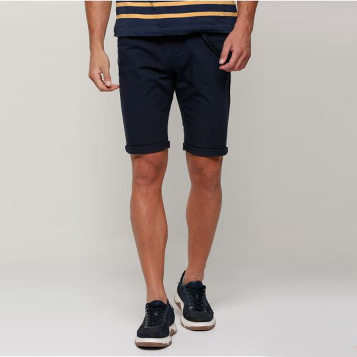 SPL-navy pocket detail cotton shorts with button closure