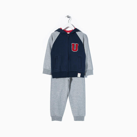 ZIPPY-Boys fleece tracksuit with chest embroidery