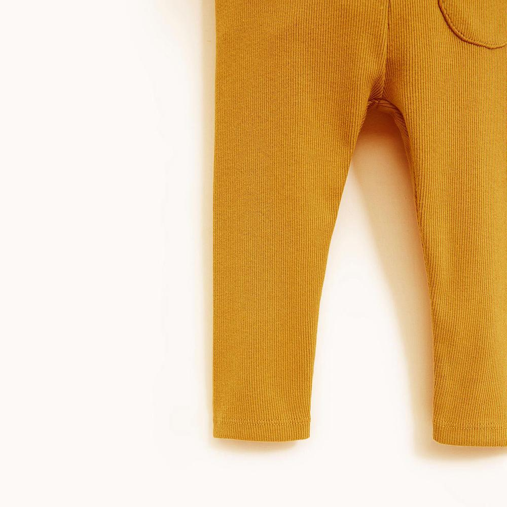 Kids Mustard Ribbed Winter Leggings With Front Pocket (30189)