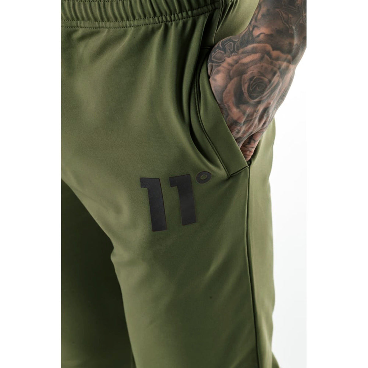 11 DEGREES-exclusive olive 'skinny fit' core poly trouser