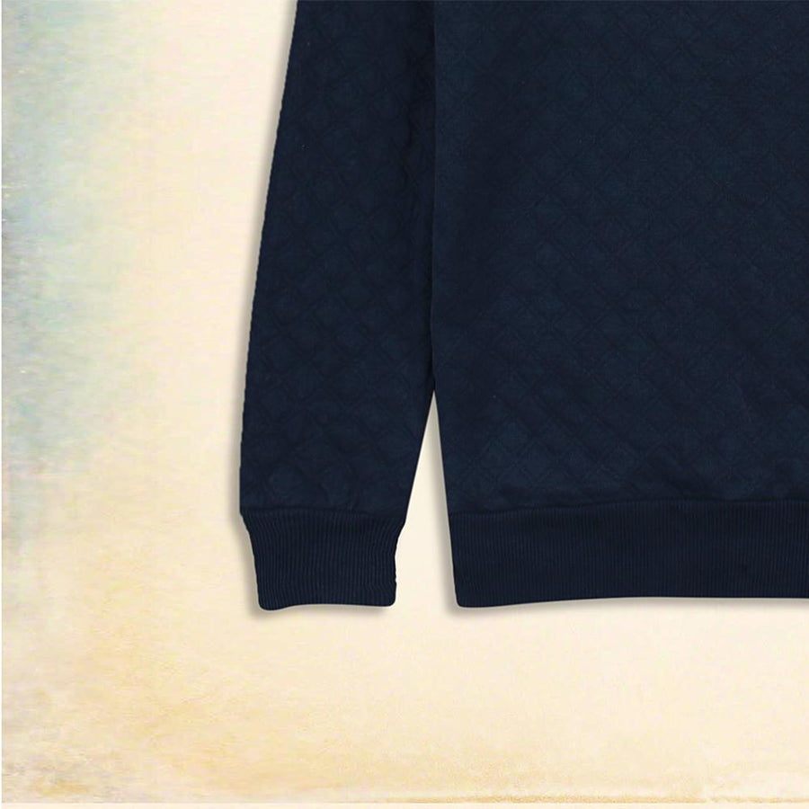 ZARA-sea blue quilted sweatshirt with grey panel