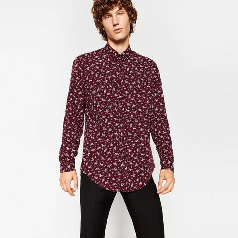 ZARA-exclusive floral print 'super slim fit' maroon shirt