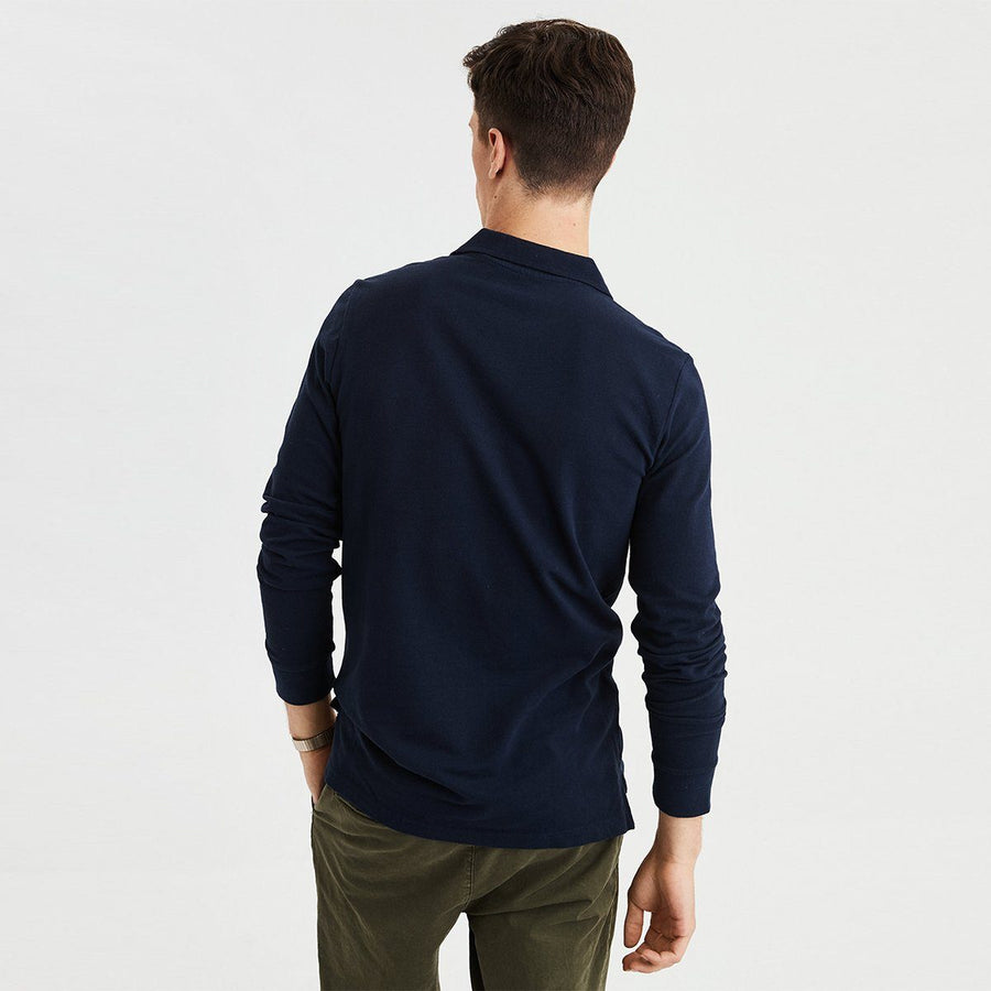 AMERICAN EAGLE-navy long sleeve pique polo