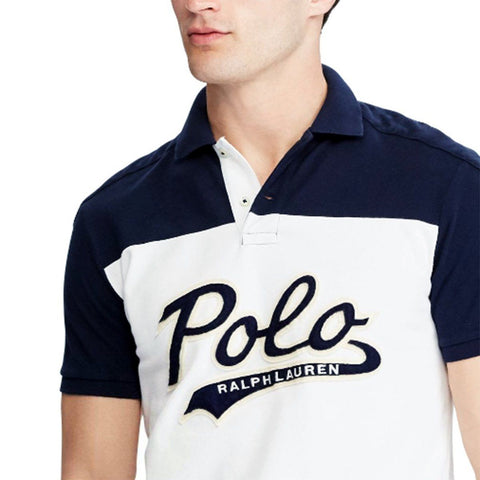 RALPH LAUREN-exclusive white multi 'slim fit' mesh polo