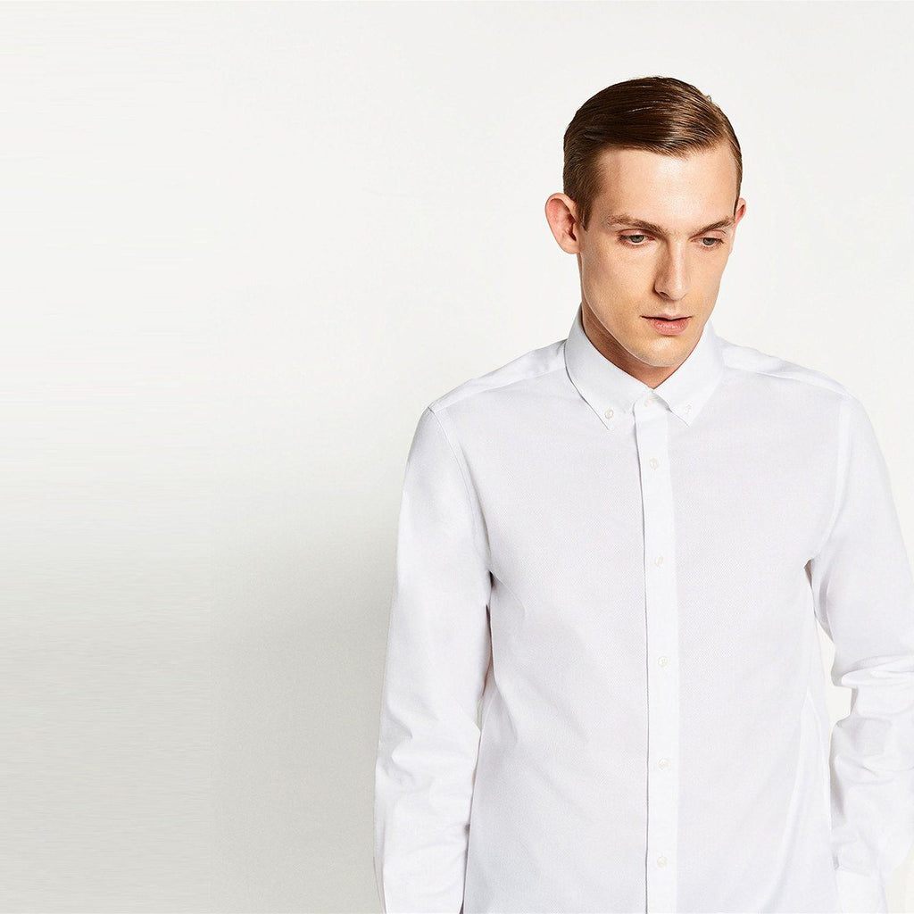ZARA-slim fit concealed textured weave button down shirt