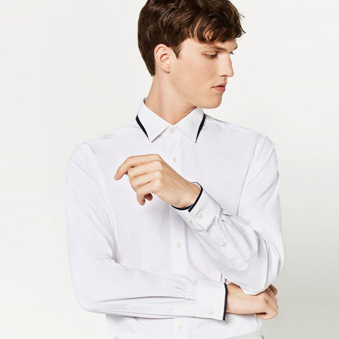 ZARA-slim fit stretch shirt with layered collar