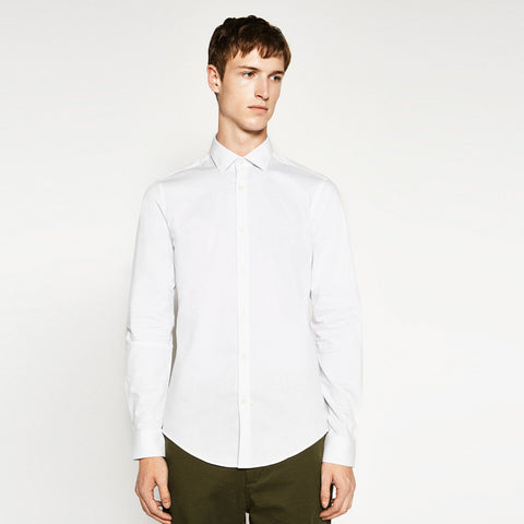 ZARA-exclusive 'slim fit' white textured weave easy iron shirt