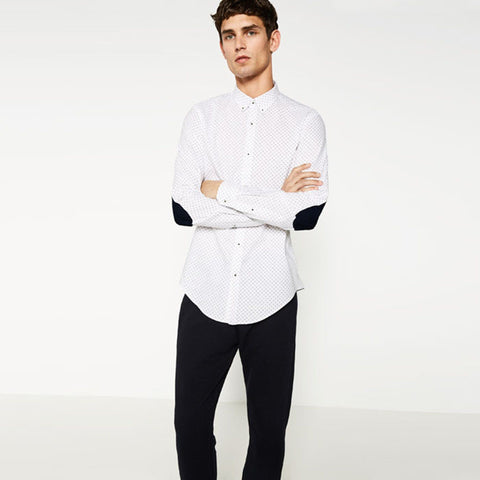 ZARA-exclusive 'slim fit' white printed oxford shirt