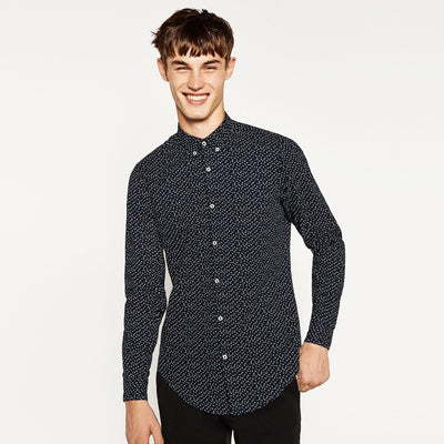 ZARA-exclusive 'slim fit' blue printed oxford shirt