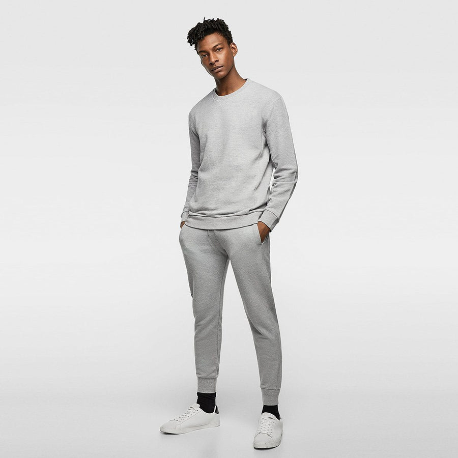 ZR-exclusive grey 'slim fit' pique jogging trouser