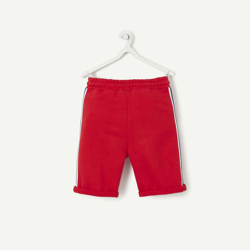 Boys red Bermuda terry short with Flocked message (2528)