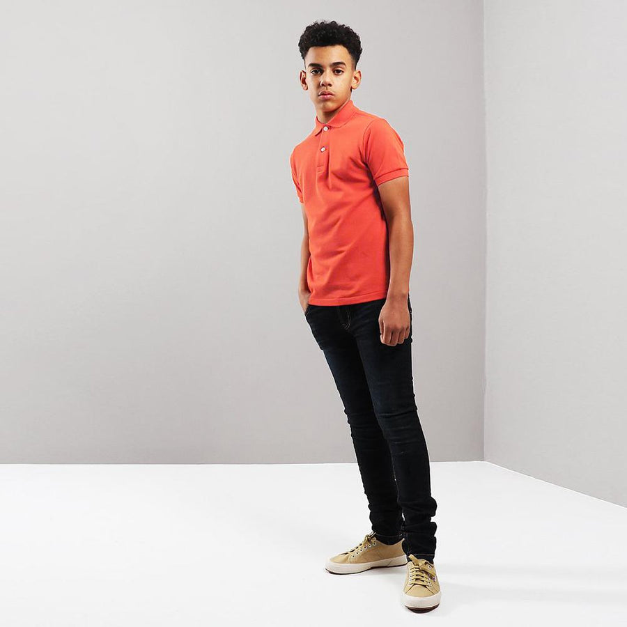 Boys neon orange short sleeve polo (800)