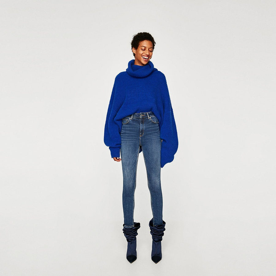 ZARA-old blue high waist bi-stretch 'skinny fit' jeans