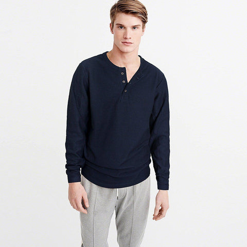 CELIO-navy textured-stripe long sleeve henley