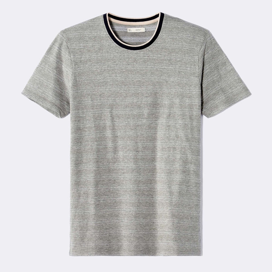 CELIO-grey straight contrast collar t-shirt