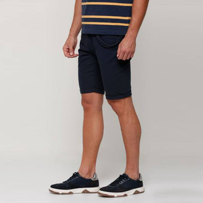 SPLASH-navy pocket detail cotton shorts with button closure