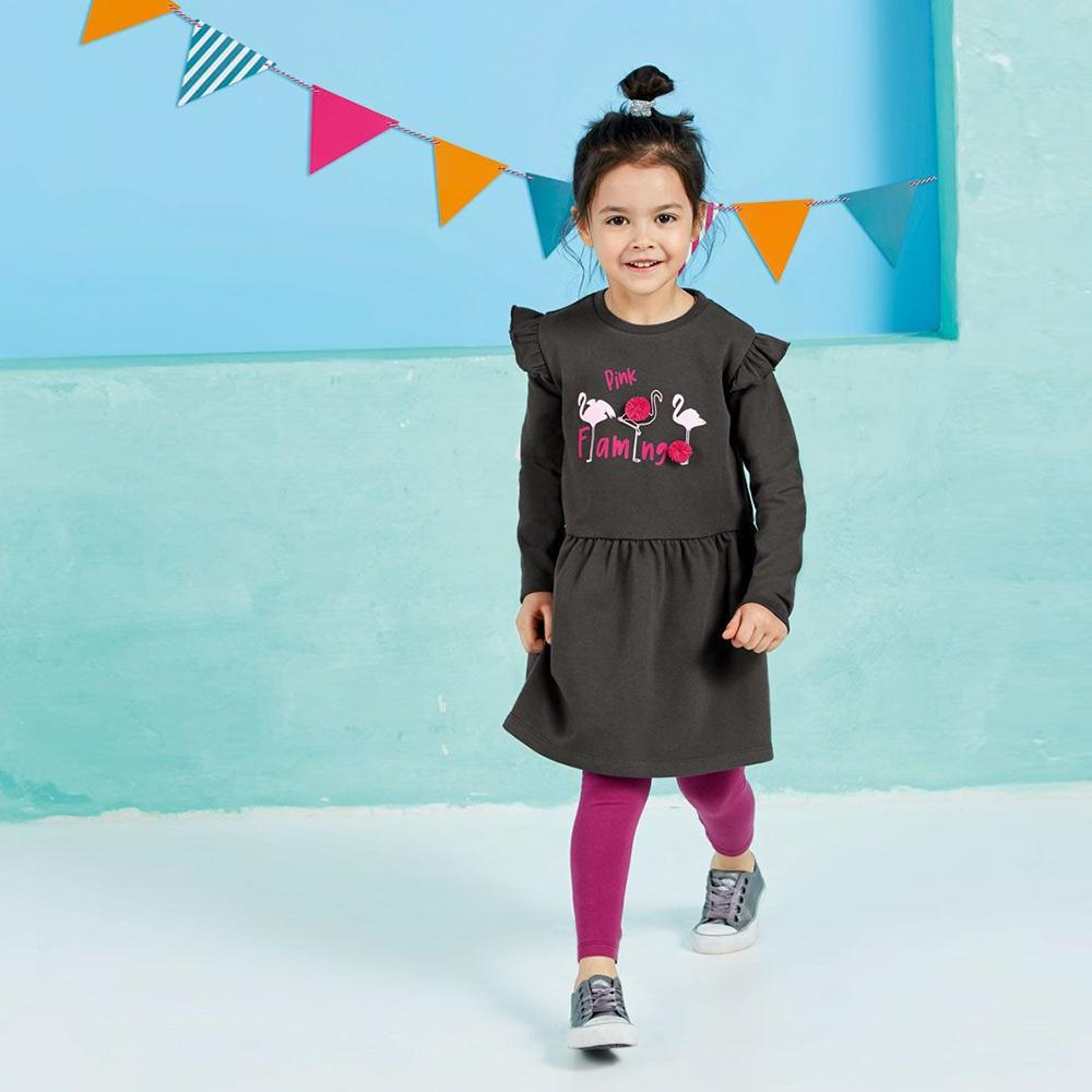 Girls charcoal fashion print frock with pompom (1191)