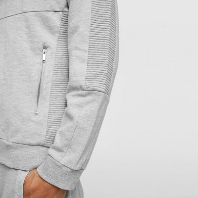 ZR-grey marl biker zip up hoodie