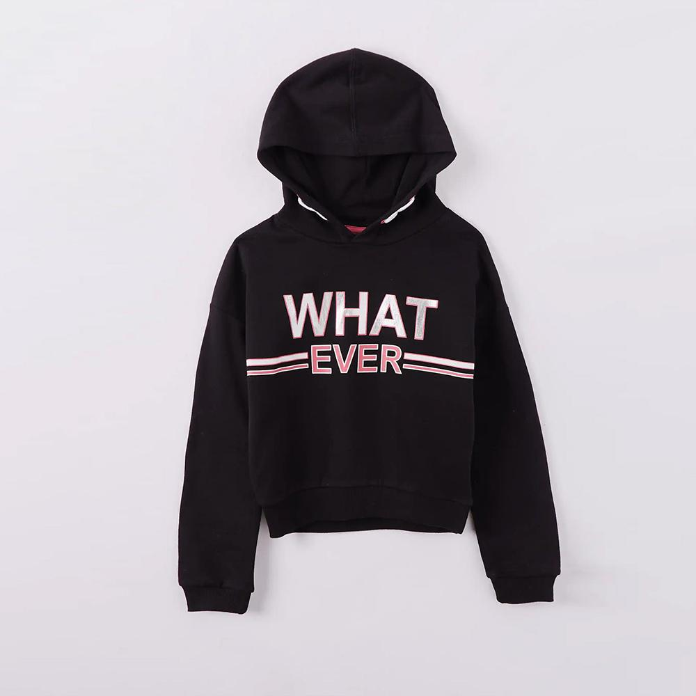 Premium Quality Black Crop Hoodie with Ultra Print for girls (30126)
