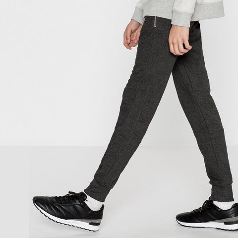 PULL&BEAR-charcoal 'slim fit' pique jogger trouser with zips