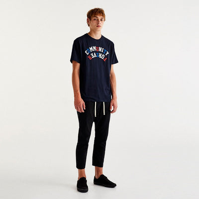 PULL&BEAR-navy embroidered text t-shirt