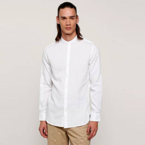 SPLASH-white mandarin collar 'slim fit' shirt (Egyptian Cotton)