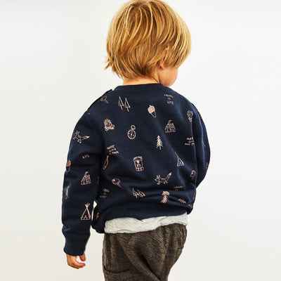 ZR-kids navy positional animal sweatshirt (475)