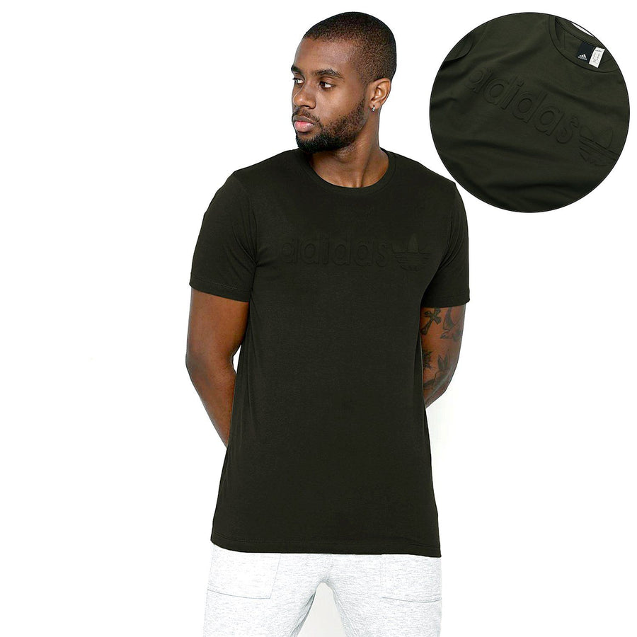 ADIDAS-olive 'slim fit' logo embossed t-shirt