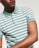 ZARA-exclusive sea green striped 'slim fit' pique polo