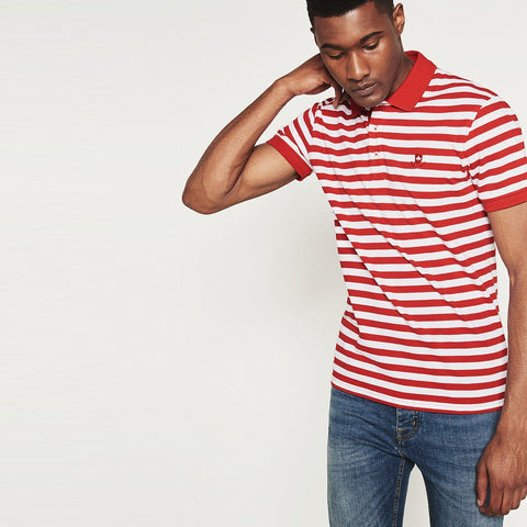 ZARA-exclusive red striped 'slim fit' pique polo