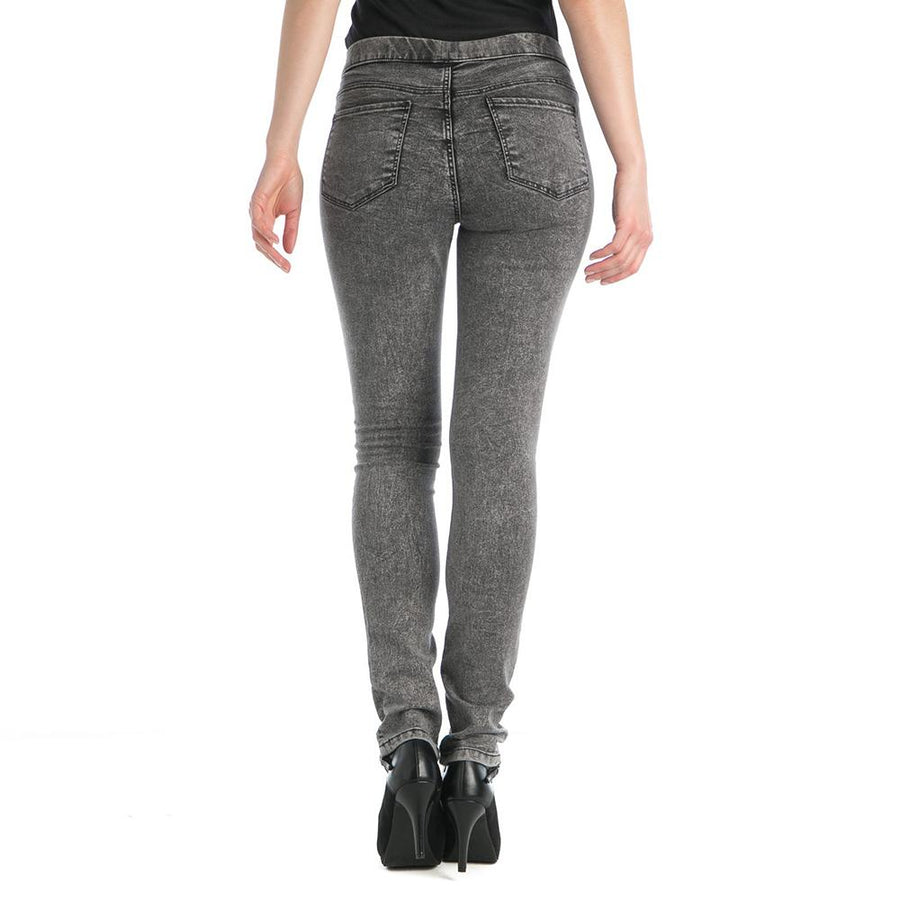 Women black snow denim jegging (1586)