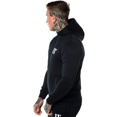 11 DEGREES-exclusive black 'muscle fit' core zip poly zipper