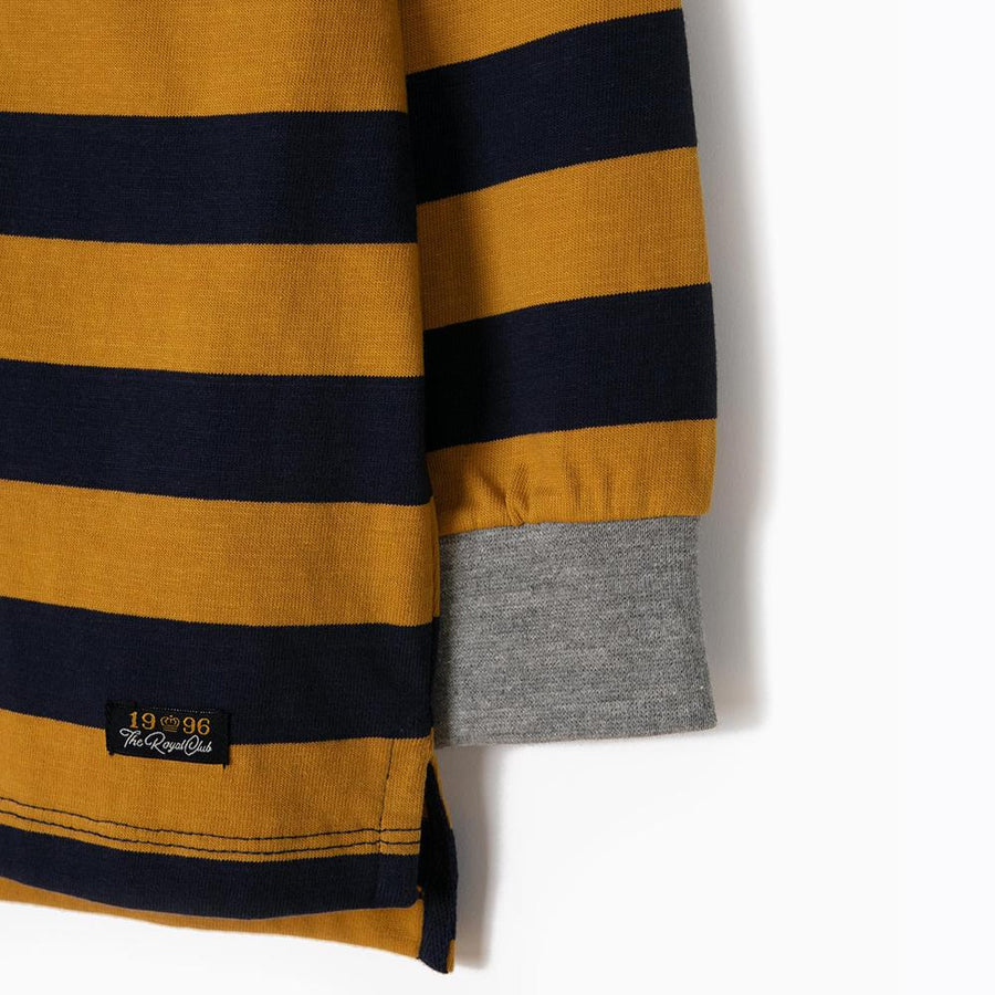 Zy boys blue and yellow striped polo (1433)