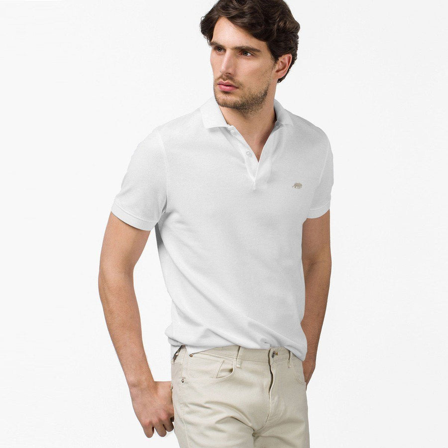 BANANA REPUBLIC-signature pique white polo