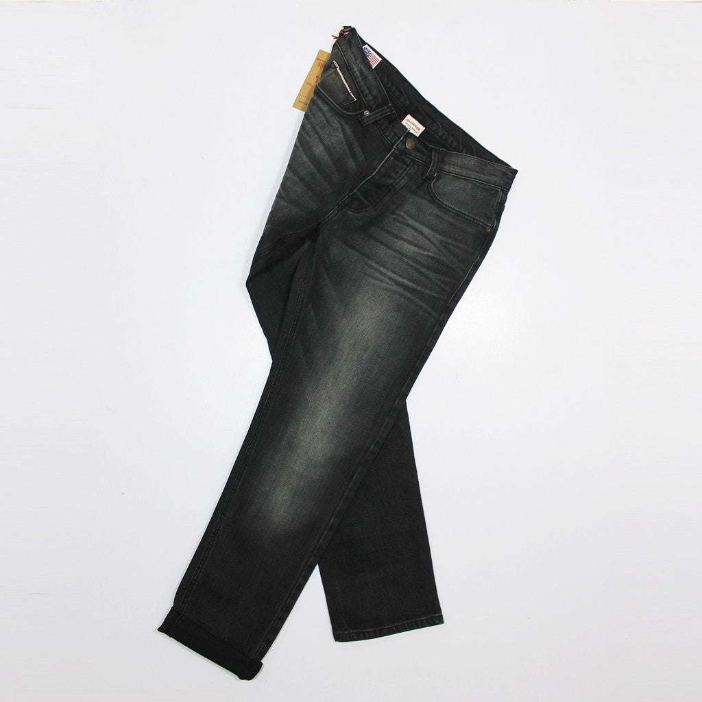 TRUE RELIGION-brett 'regular slim' blackish grey stretch denim