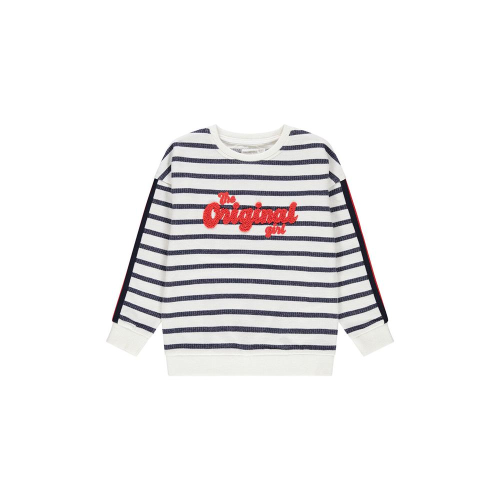 Orchstra girls striped sweatshirt with terry lettering (1535)