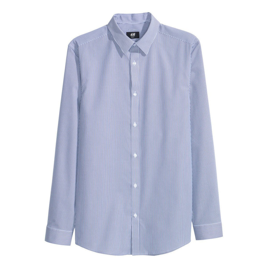 H&M- slim fit blue striped easy-iron shirt