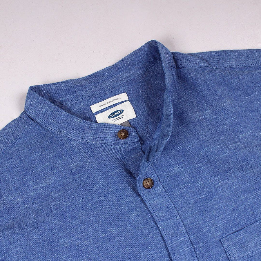 OLD NAVY-blue linen blend 'slim fit' shirt