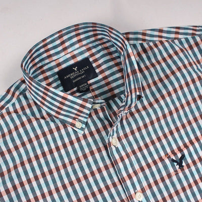 AMERICAN EAGLE-teal classic plaid button down shirt