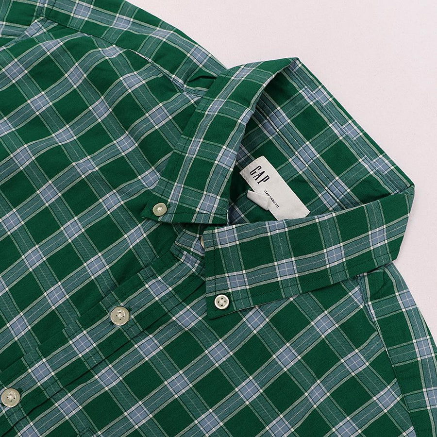 GAP-green plaid 'standard fit' button down shirt