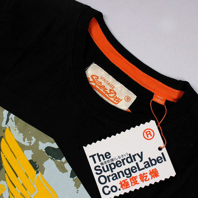 SUPERDRY-orange label vintage limited edition black t-shirt