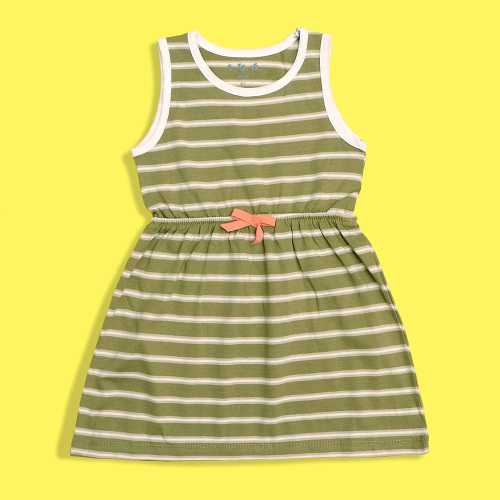 Girls dyed yarn striped elastic waist frock (2212)