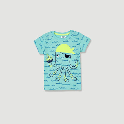 PEPCO-baby boy turquoise octopus t-shirt