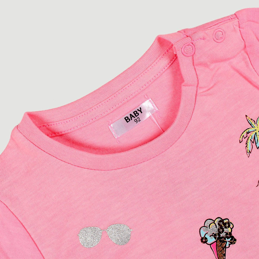 PEPCO-baby girl pink fun embroidered t-shirt