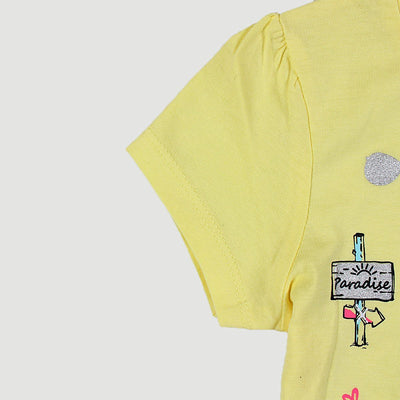 PEPCO-baby girl yellow fun embroidered t-shirt